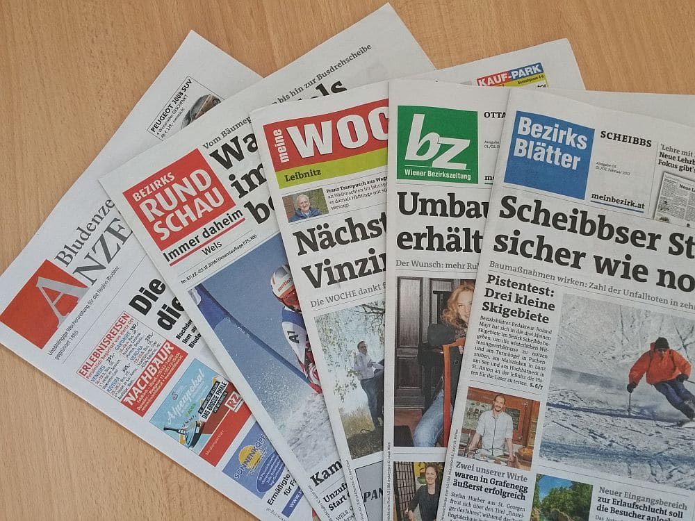 Auswahl Zeitungen für Materndienste in Österreich