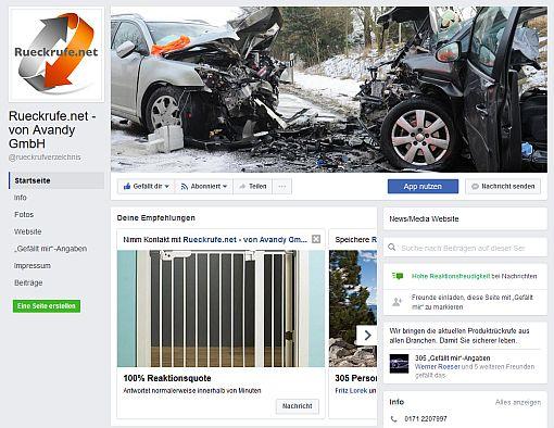 Die von Avandy betriebene facebook-Seite zu Produktrückrufen