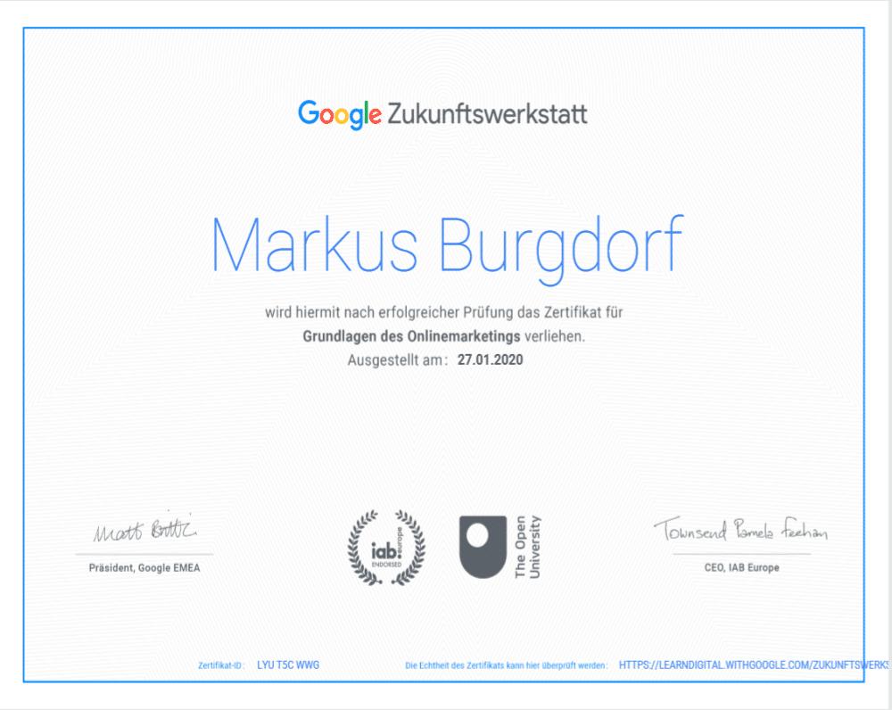 Zertifikat Google