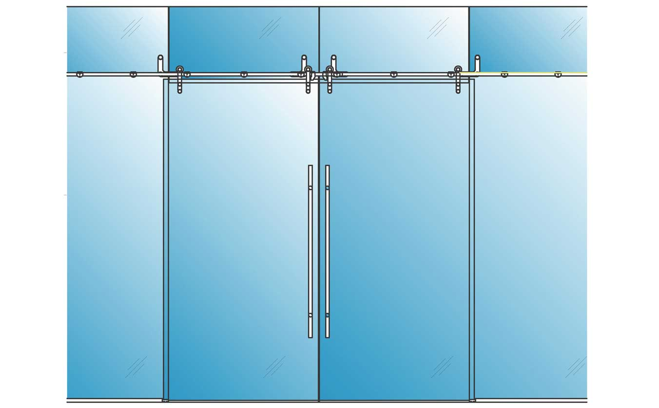 Rail Sliding Barn Glass Doors