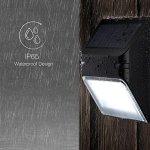[2 Pack] Mpow Eclairage Solaire imperméable Panneau solaire avec Capteur de Lumière / luminaire exterieur applique murale 5.5V 0.4W spot solaire Ip65 Etanche 5 LED 12 heures de travai
