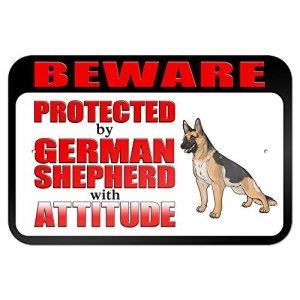 Attention protégé par Berger allemand avec Attitude 9x 6Aluminium plaque métal Signes Boîte signalisation vintage plaques Signs decorative plaque
