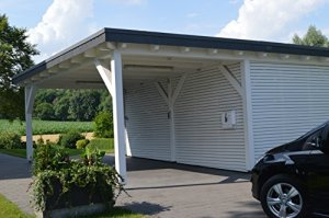 Carport toit plat pour une voiture avec salle de rangement oeynh ausen Colle à bois massif