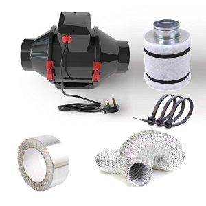 Fantronix Hydroponic Kits Ventilation de tente avec ventilateur, filtre à carbone et tuyau 10,12,15cm 4″