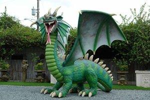 Grand Dragon de Feu XXL 400cm picorent verte pour l'extérieur en fibre de verre haute qualité plastique (GFK)