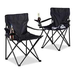 Relaxdays 10020932_46 Chaise de Camping Mixte Adulte, Noir