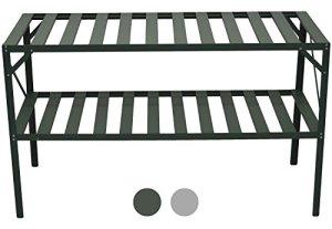 Woodside – Meuble de rangement à lamelles – 2 étagères sur 4 pieds – aluminium – plantes/pots/serre – Vert