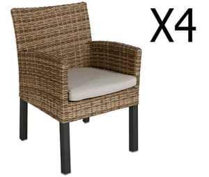 Lot de 4 fauteuils de jardin en résine tressée coloris naturae – Dim: L 54 x P 65 x H 85cm – PEGANE –