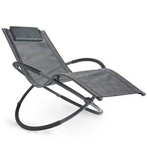 VonHaus Fauteuil à bascule Orb Rocking-chair pliable — Chaise longue d'extérieur avec accoudoirs et repose-tête — Mobilier de jardin et de terrasse