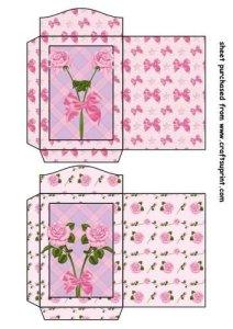 Feuille A4 pour confection de carte de vœux – 2 Pink rose seed packets 1 par Sharon Poore