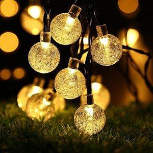 Guirlande lumineuse, Vitutech LED Boules Cristal Lumineuse Décoration Solaire de Soirée Mariage Anniversaire Festivale Jardin Magasin Maison pour Extérieure, Jardin, Maison, Terrasse – 30 PCS