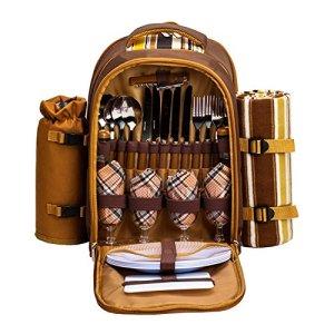 Apollowalker Sac à dos de pique-nique pour sac à dos de pique-nique, 4 personnes, avec vaisselle et couverture