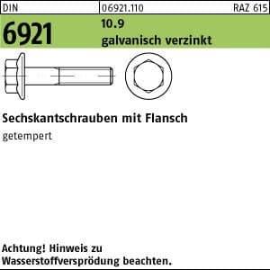 500 Sechskant Flanschschrauben DIN 6921 10.9 M 6 x 12 verzinkt A2F, Stahl