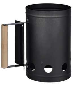 Charcoal Starter métal – peint en noir – solide manche en bois et protection thermique