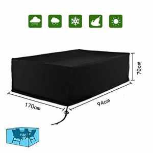 Diossad Housse de Protection Table de Jardin Rectangulaire Polyester pour Meuble de Jardin Noir 170x94x70cm