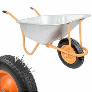 DJM Brouette de jardin en métal robuste avec pneu anti-crevaison 90litre/180kg