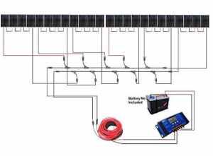 Ecoworthy 2kW 24V Off Grille Panneau solaire kit: 24pièces de 90W Panneau solaire monocristallin + 60A LCD solaire contrôleur de charge Régulateur + 15,2m câble solaire + Paire de connecteurs MC4Branche
