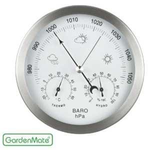 GardenMate® Station météo analogique 3 en 1 cadre en acier inox Ø 14 cm baromètre thermomètre hygromètre