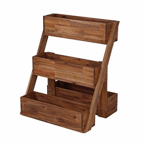 Greemotion jardini re escalier en acacia borkum jardini re ext rieur bois rustique bac - Jardiniere en bois sur pied ...