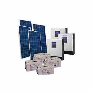 PuntoEnergia Italia – Kit Solaire Chalet 1KW 24V Pro Panneau Regulateur Onduleur 2400W Batterie 110Ah – KBA-1000P-2400-B110-AV
