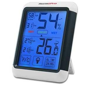 ThermoPro TP-55 Thermomètre Hygromètre Numérique, Rétroéclairage Bleu, Grand Écran LCD Tactile, Détecteur de Température/ Humidité Sans Fil