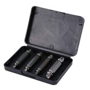 4pcs Vis Extracteur Drill Bits Guide Enlèvement Ensemble Brisé Vis endommagée Boulon Out Boulon En Bois Stud Remover Tool Kit 1/2/3/4#
