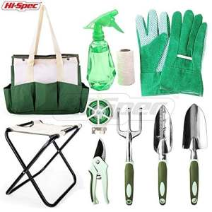 Ensemble tout-en-un d'outils de jardinage confortables Hi-Spec pour la maintenance et l'entretien avec tabouret pliant/sac – 10pièces: truelle à main en fonte d'aluminium, truelle fine et râteau à main, sécateurs à grip doux, gants de travail, pulvérisateur à main, fil et ficelle en coton pour jardinage – pour creuser, élaguer, désherber, arroser, planter, rempoter et aérer