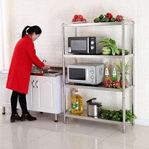 %Étagère multicouche Étagère en acier inoxydable cuisine quatre étages rack multifonctionnel Rack de finition