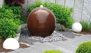 Fontaine boule en acier Corten Samoa
