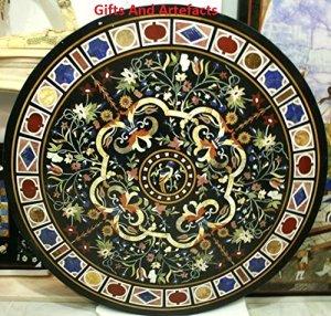 Unique Pietra Dura Art 121,9cm Round Table basse Dessus en marbre Noir