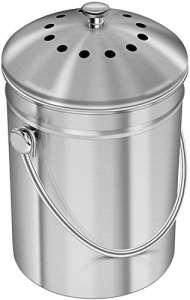 1,3 gallon Bac à compost en acier inoxydable de avec filtre au charbon de bois – Utopia Kitchen