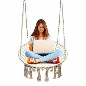 Chaise suspendue, tricotée par corde de coton avec des franges romantiques hamac macramé chaise balançoire pour l'intérieur/extérieur, patio, terrasse, cour, jardin, bar, capacité de 120KG (Le Support de Hamac et les Oreillers ne Sont pas Inclus))
