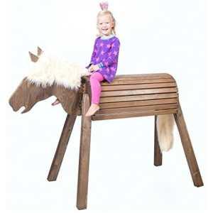 Cheval de bois (Cheval) sauvage de voltige Dakota, fabriqué à la main en Allemagne, jouets de haute qualité de Wild enfants de marque, robuste, stable, sûr, le cadeau pour fille, pour l'extérieur et l'intérieur, livré prémonté, installation facile