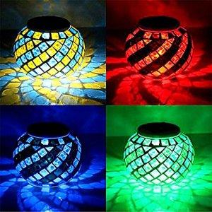 Lampes solaires, boule magique Sunshine LED étanche en verre cristal à changement de couleur lampe de lumière solaire pour jardin, table, patio, intérieur, fête, décorations de Noël