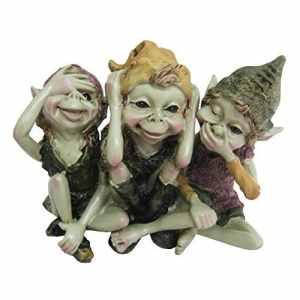 Pixie Hear, See, Speak No Evil – Green Garden Home Decor – Fun Quirky Gift Figurine – Anthony Fisher by Fiesta Studios