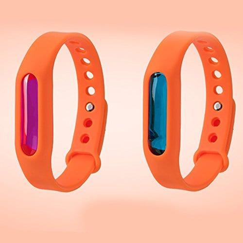 VVDF Nouvelle Version Anti Moustique Bracelet avec Huile Essentielle de Plantes 3Génération Protection Contre Bite à partir de Mosquito Mi Bracelet 1Pcs Noir Couleur, Orange
