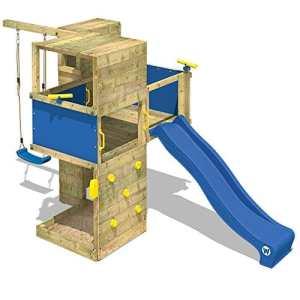 WICKEY Tour de jeux Smart Cube Aire de jeux en bois Tour d'escalade pour jardin avec balançoire, mur d'escalade, bac à sable, toit en bois, toboggan bleu + bâche bleu