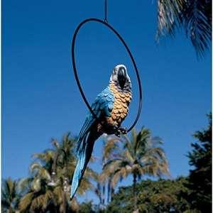 Design Toscano Polly au Paradis de Perroquet Statue de Perchoir d'Oiseaux Anneau Perche, Grand 53.25 cm, Ensemble de Deux, polyrésine, palette complète de couleur