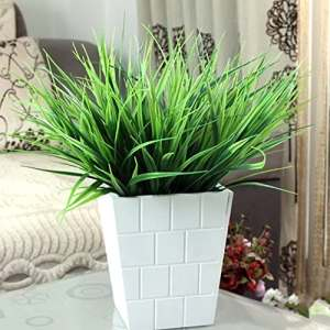 Edhua Plantes artificielles d'herbe Verte en Plastique artificielles avec la décoration de Bureau de ménage de 7 fourchettes