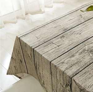 Nappe de lin en coton coton rectangulaire, Tissu de table à manger à rayures en bois pour maison Café Cafe Restaurant, chaleur et résistance à l'humidité (100*140cm(39*55inch))