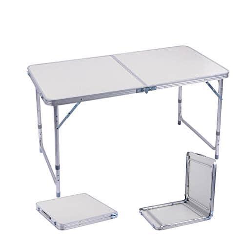 sunflo table pliante 1 2 m portable r glable en alliage d. Black Bedroom Furniture Sets. Home Design Ideas