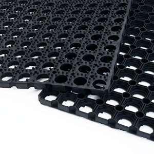 Tapis caillebotis en caoutchouc etm® Octo Door | épaisseur 16mm | fonction tapis brosse + tapis anti-fatigue | usage PRO | tailles au choix – 100x150cm