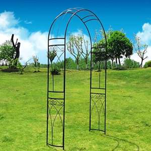 Tonnelle de jardin Outour – En métal – Forme d'arche élégante – Pour des plantes grimpantes, des roses, des vignes – Pour un jardin, une pelouse, une cour ou un patio – Idéale pour un mariage – Noire