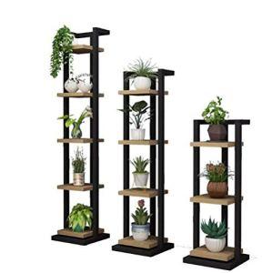 3 ensembles de salon en bois massif support de fleurs art de fer étroit Rack multi-couche multi-fonction présentoir chambre décoration décoration plante de sol présentoir (Couleur : NOIR)