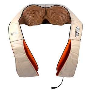 Appareil de Massage Shiatsu Chauffant Infrarouge Masseur Cervical Portable du Nuque Dos Cou Épaule Périphérique Ceinture de Massage avec Adaptateur pour Maison Bureau Voiture (Beige)