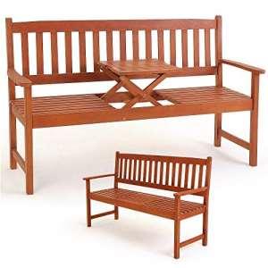 Banc de jardin 3 personnes avec plateau intégré 150 cm meuble bois jardin terrasse