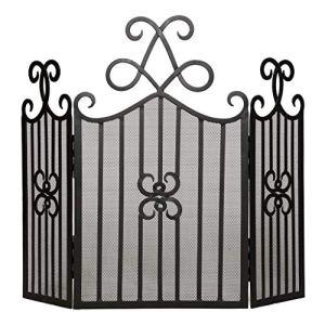 Dibor sur Pied décoré en métal Noir Foyer d'écran pour Protection à partir de Sparks