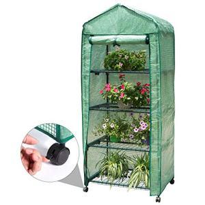 Finether 4-Tier Mini Serre de Jardin Metal PE Plastique Tente Abri Portable Couverture Résistant aux Intempéries Greenhouse Légume Fruit Plante 690 x 490 x1580MM (L * W * H)