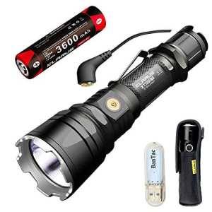 Klarus xt12gt Torche tactique magnétique à longue portée LED Lampe de poche militaire Cree 603 M xhp35 Bonjour D4 1600 Lumens Hunting Torch Ultra puissant résistant à l'eau avec 18650 batterie rechargeable 3600 mAh + thenines USB lampe