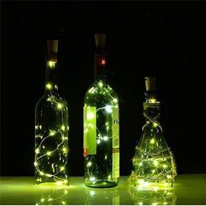 LED Bouteille Lumières, Lampes de Bouteille,20 LEDs Guirlande lumineuse Blanc Chaud,Bouteille LED lumière Chaînes Lumière,Bouchon Bouteilles de Vin Chaîne Lumières pour Fête,Jardin,Mariage,20led-Lumière verte